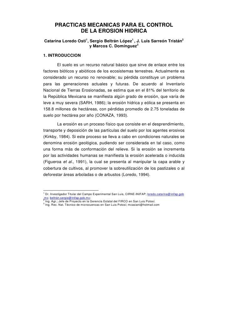 PRACTICAS MECANICAS PARA EL CONTROL                DE LA EROSION HIDRICACatarina Loredo Osti1, Sergio Beltrán López1 , J. ...