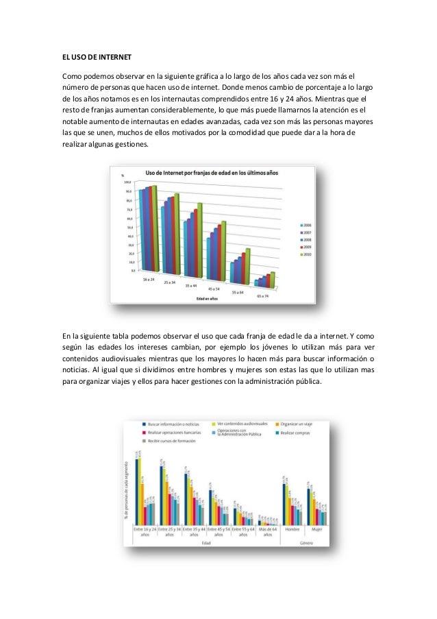 EL USO DE INTERNET Como podemos observar en la siguiente gráfica a lo largo de los años cada vez son más el número de pers...