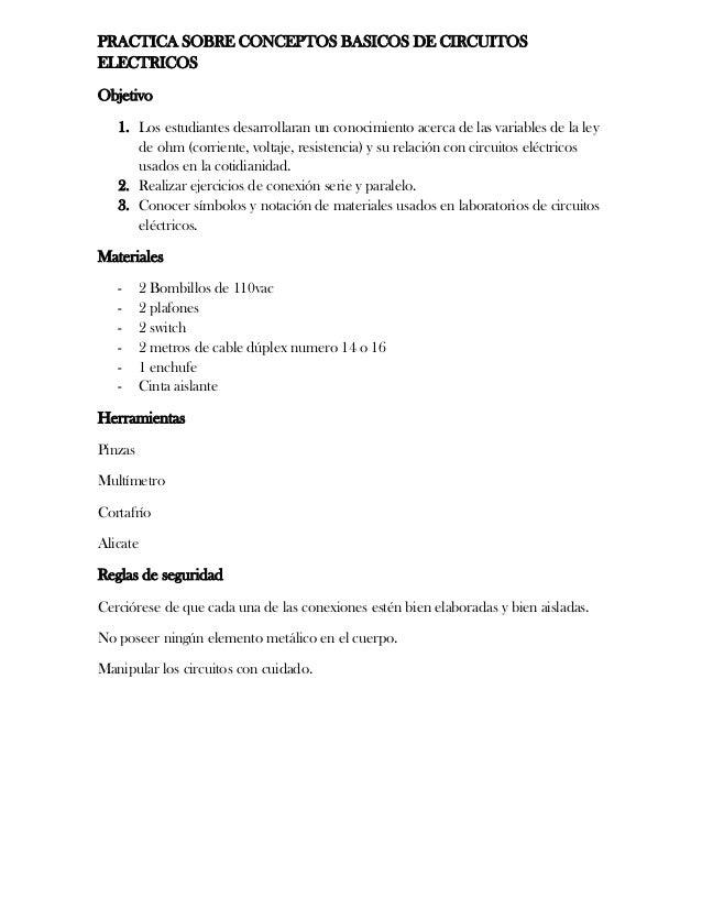 PRACTICA SOBRE CONCEPTOS BASICOS DE CIRCUITOS ELECTRICOS Objetivo 1. Los estudiantes desarrollaran un conocimiento acerca ...