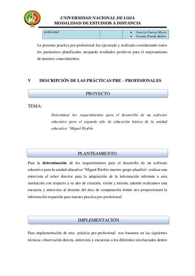 Practicas pre profesionales - Grupo riofrio ...
