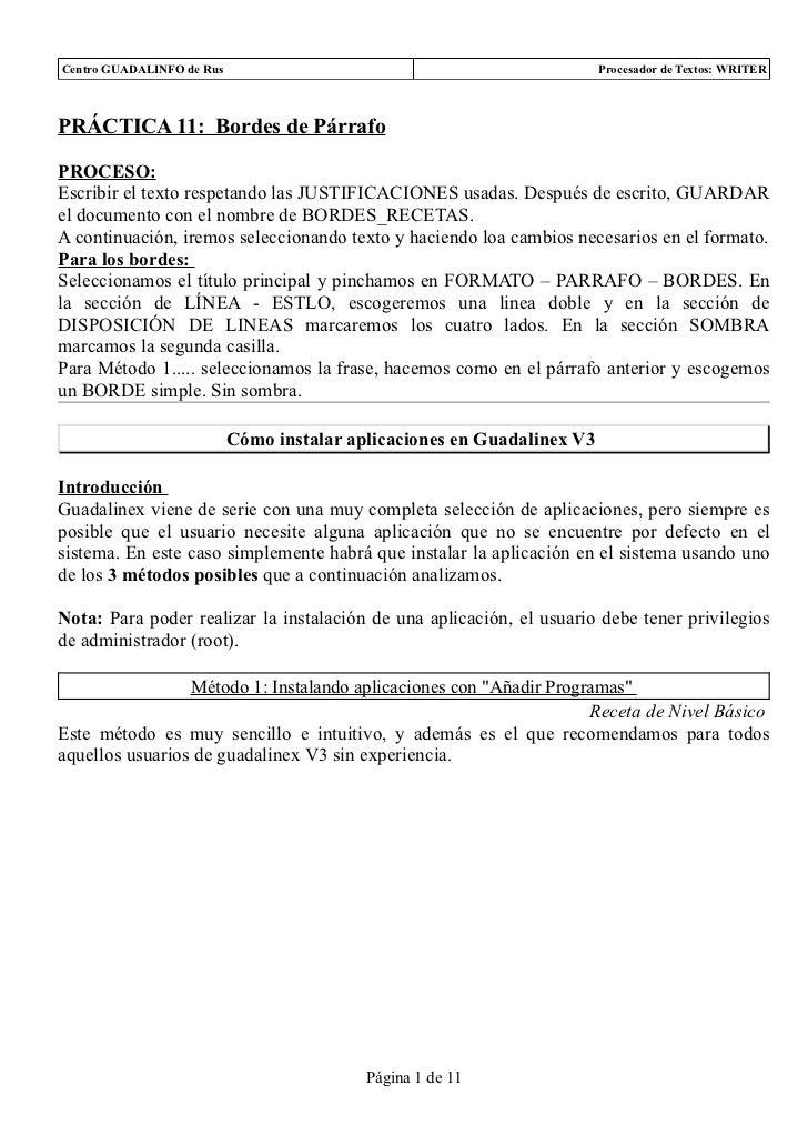 Centro GUADALINFO de Rus                                                 Procesador de Textos: WRITERPRÁCTICA 11: Bordes d...