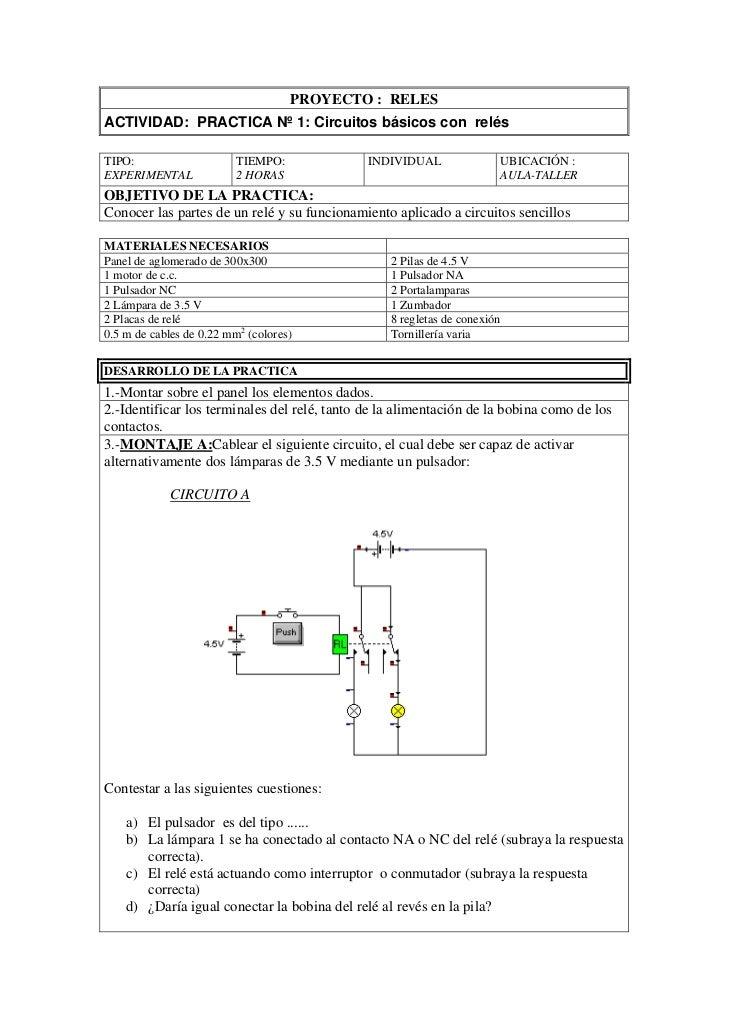 PROYECTO : RELESACTIVIDAD: PRACTICA Nº 1: Circuitos básicos con relésTIPO:                     TIEMPO:             INDIVID...