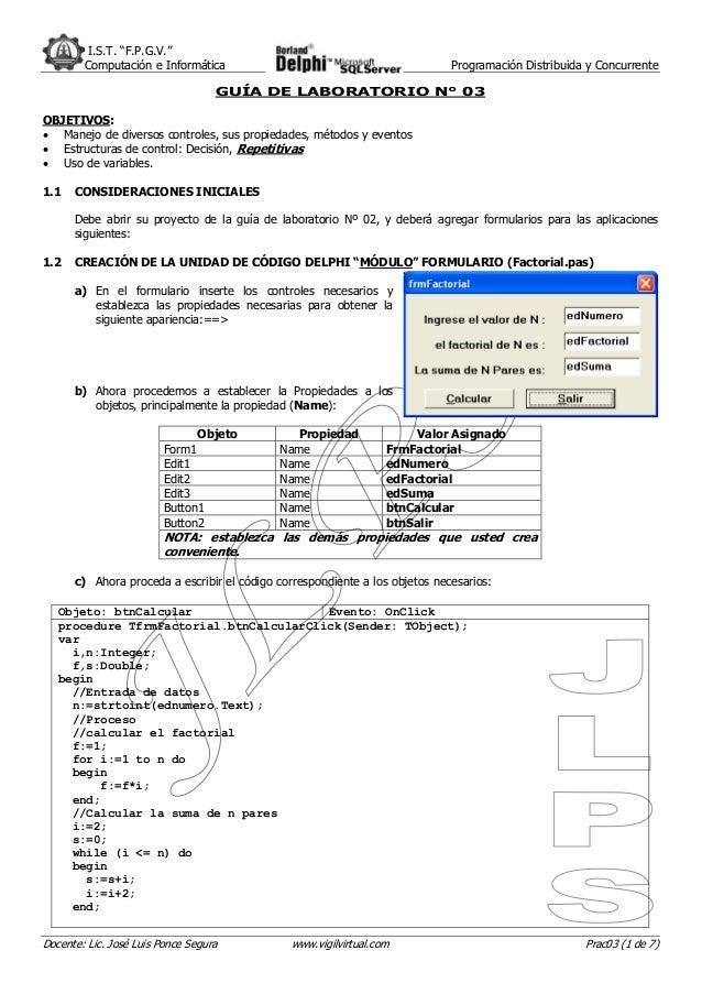 """I.S.T. """"F.P.G.V."""" Computación e Informática Programación Distribuida y Concurrente Docente: Lic. José Luis Ponce Segura ww..."""