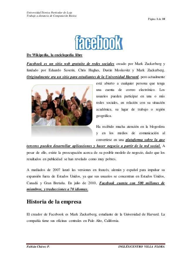 Universidad Técnica Particular de Loja Trabajo a distancia de Computación Básica Página 1 de 10 Fabián Chávez P. INGLÉS/CE...