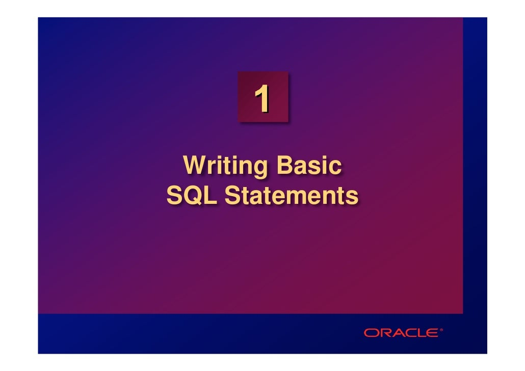 1 Writing BasicSQL Statements