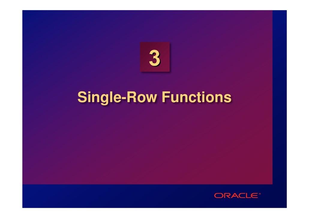 3Single-Row Functions