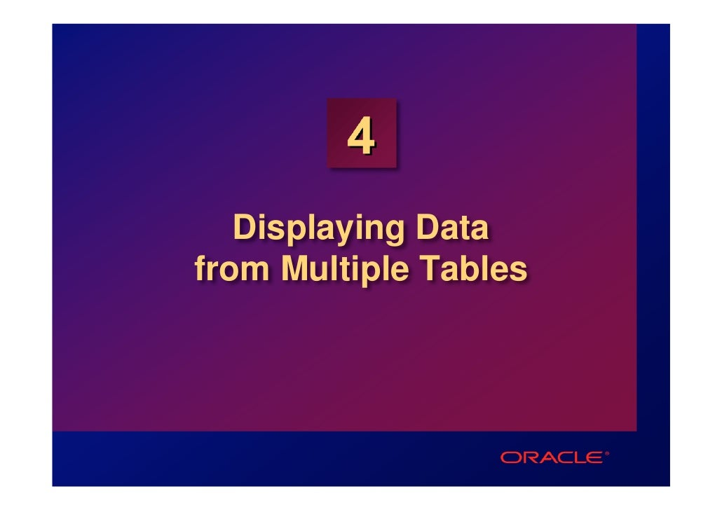 4   Displaying Datafrom Multiple Tables