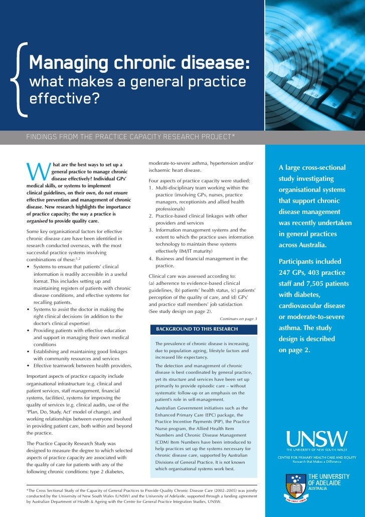 Managing chronic disease:  what makes a general practice  effective? FINDINGS FROM THE PRACTICE CAPACITY RESEARCH PROJECT*...