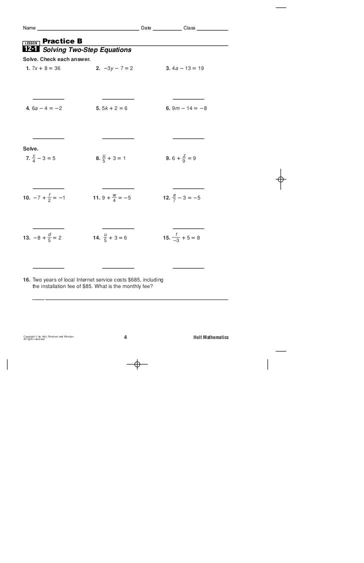 Worksheets Holt Mathematics Worksheets practice b 2 step equations