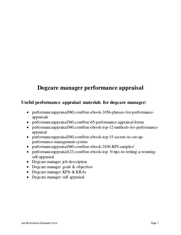 job performance evaluation form page 1 dogcare manager performance appraisal useful performance appraisal materials for do - Practice Director Job Description