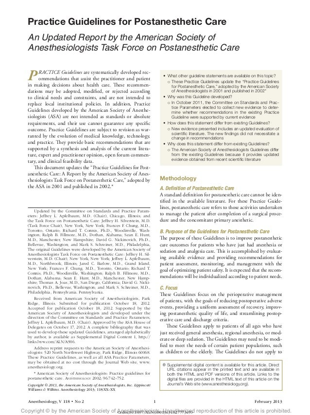 Anesthesiology, V 118 • No 2 1 February 2013 PRACTICE Guidelines are systematically developed rec- ommendations that ass...