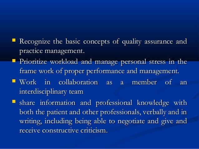  Recognize the basic concepts of quality assurance andRecognize the basic concepts of quality assurance and practice mana...