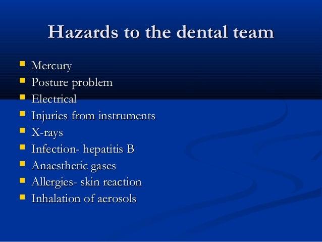 Hazards to the dental teamHazards to the dental team  MercuryMercury  Posture problemPosture problem  ElectricalElectri...