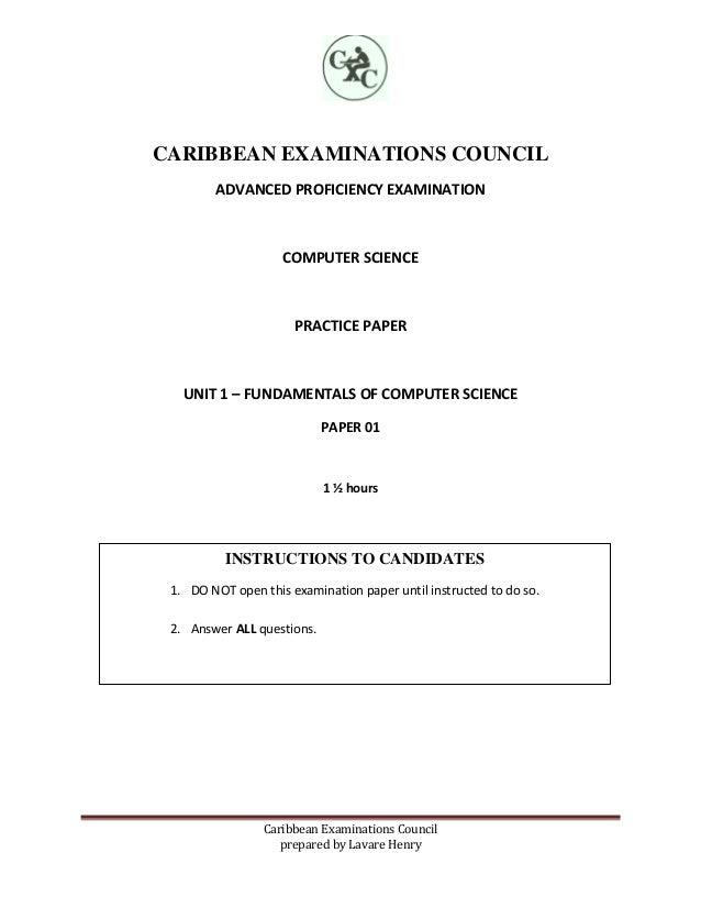 cape computer science unit 1 paper 1 practice paper