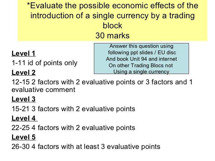 *Evaluate the possible economic effects of the introduction of a single currency by a trading block 30 marks Level 1   1-1...