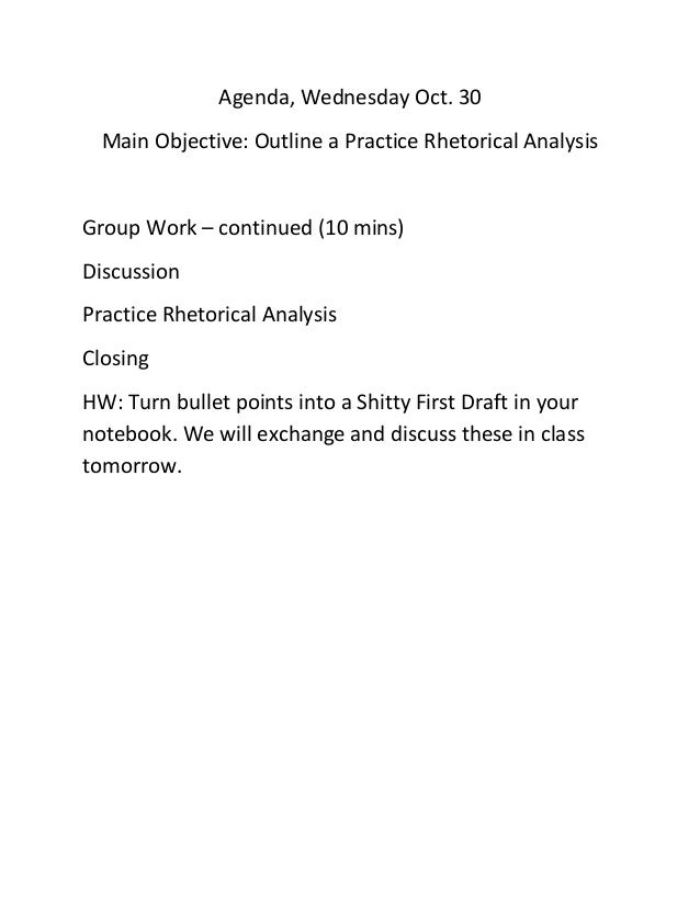 rhetorical analysis shitty first drafts 102 critical reading and bias date: february 5, 2018 author: professor ramos 0 comments quick write write for 3 minutes on this quote bias we have talked about.