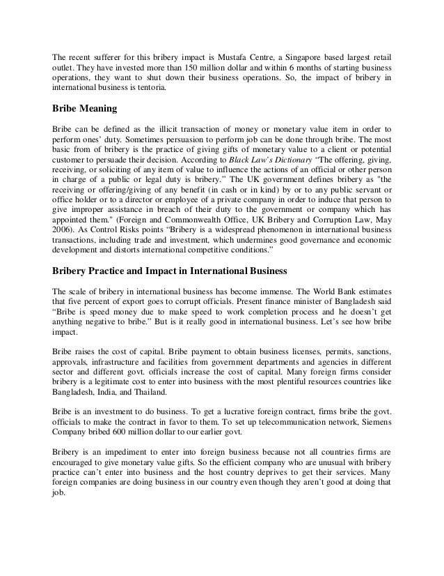 impact of bribery Practices and impact of bribe in international business in bangladesh  so, the impact of bribery in international business is tentoria bribe meaning.