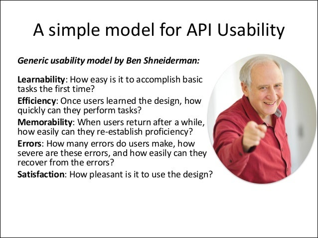 A	   simple	   model	   for	   API	   Usability Generic	   usability	   model	   by	   Ben	   Shneiderman: Learnability:	 ...