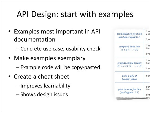 API	   Design:	   start	   with	   examples • Examples	   most	   important	   in	   API	    documentation	    – Concrete	...