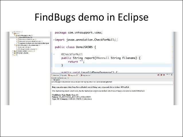 FindBugs	   demo	   in	   Eclipse