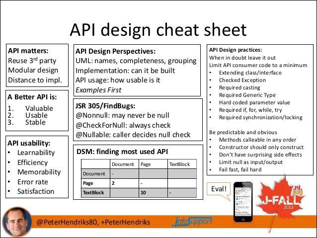 API  design  cheat  sheet API  matters:   Reuse  3rd  party   Modular  design   Distance  to  impl...