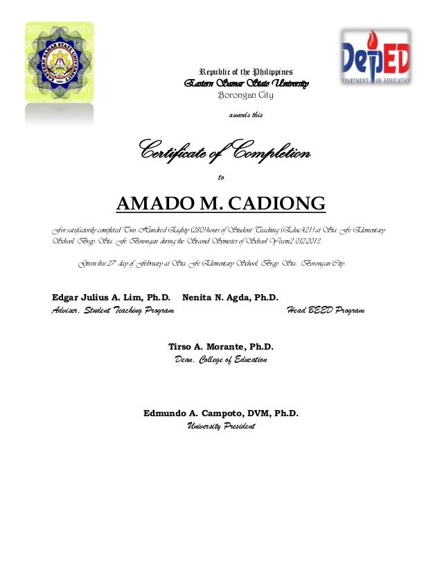 Practice Teaching Certificate