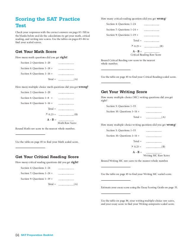 SAT Practice test answers-2004-05