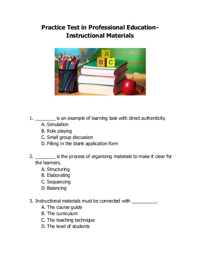 Let Practice Test In Professional Education Instructional Materials