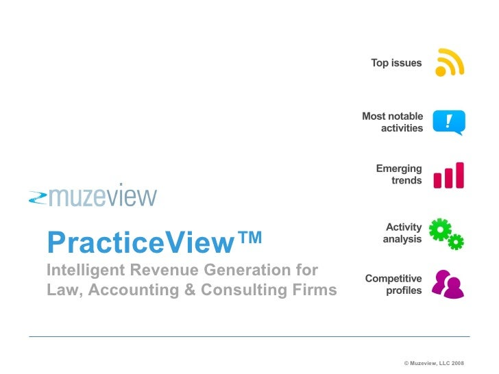 PracticeView™ Intelligent Revenue Generation for Law, Accounting & Consulting Firms © Muzeview, LLC 2008