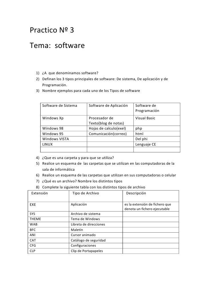 Practico Nº 3Tema: software      1) ¿A que denominamos software?      2) Definan los 3 tipos principales de software: De s...
