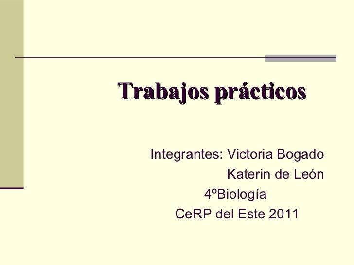 Trabajos prácticos   Integrantes: Victoria Bogado                Katerin de León            4ºBiología       CeRP del Este...