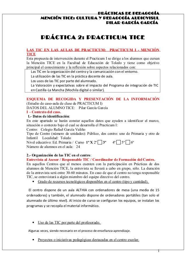 PRÁCTICAS DE PEDAGOGÍA MENCIÓN TICE: CULTURA Y PEDAGOGÍA AUDIOVISUL PILAR GARCÍA GARCÍA PRÁCTICA 2: PRACTICUM TICE LAS TIC...
