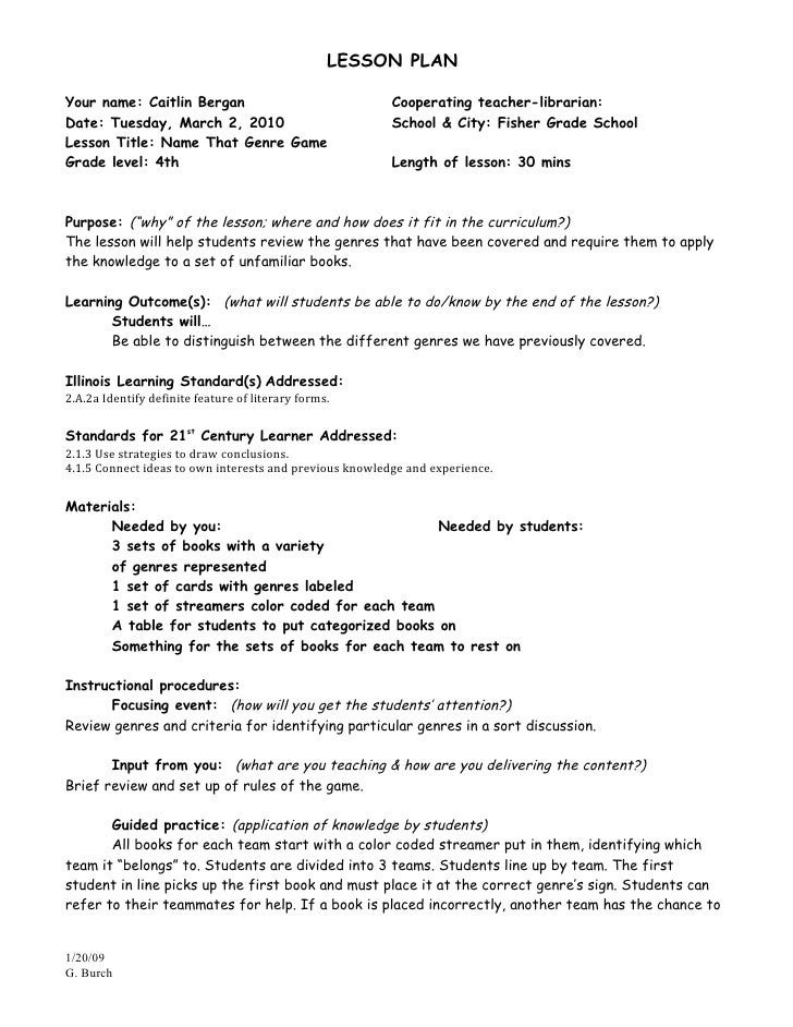 LESSON PLANYour name: Caitlin Bergan                                Cooperating teacher-librarian:Date: Tuesday, March 2, ...