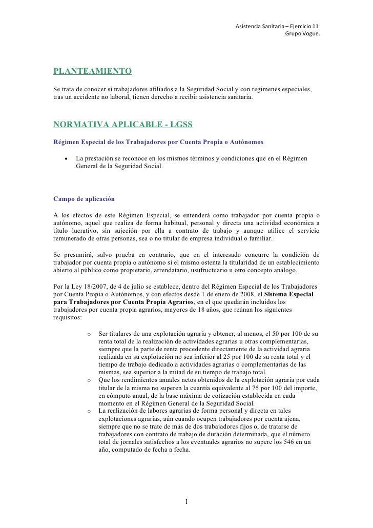 Asistencia Sanitaria – Ejercicio 11                                                                                       ...