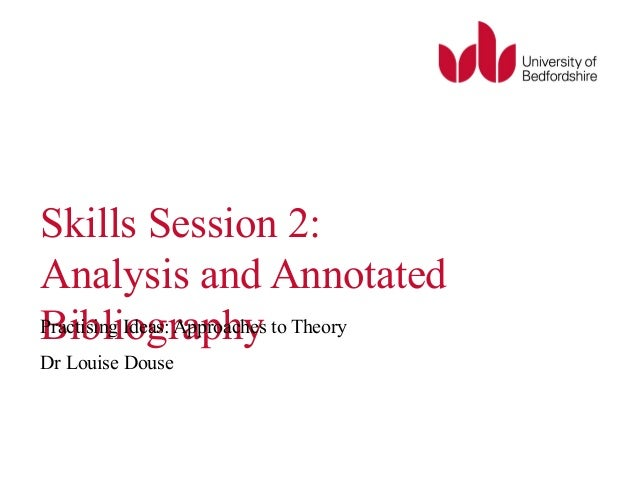 Skills Session 2:  Analysis and Annotated  PBracitibsinlgi Iodegas:r Aappprohachyes to Theory  Dr Louise Douse