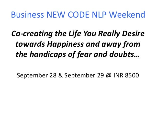 NLP Practitioner Workshop Sept.2013