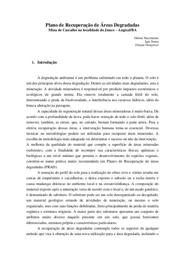 Plano de Recuperação de Áreas Degradadas              Mina de Cascalho na localidade do Junco – Angical/BA                ...