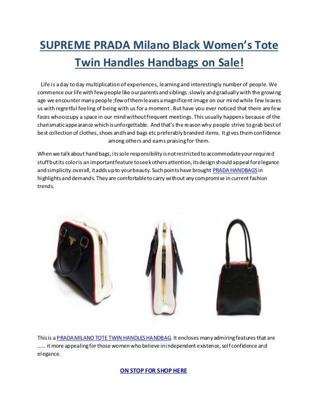 167cdfb651bd SUPREME PRADA Milano Black Women s Tote Twin Handles Handbags on Sale! Life  is a day