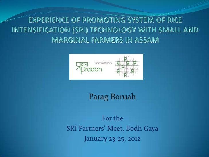 Parag Boruah           For theSRI Partners' Meet, Bodh Gaya      January 23-25, 2012