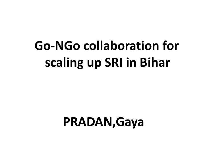 Go-NGo collaboration for scaling up SRI in Bihar<br />PRADAN,Gaya<br />