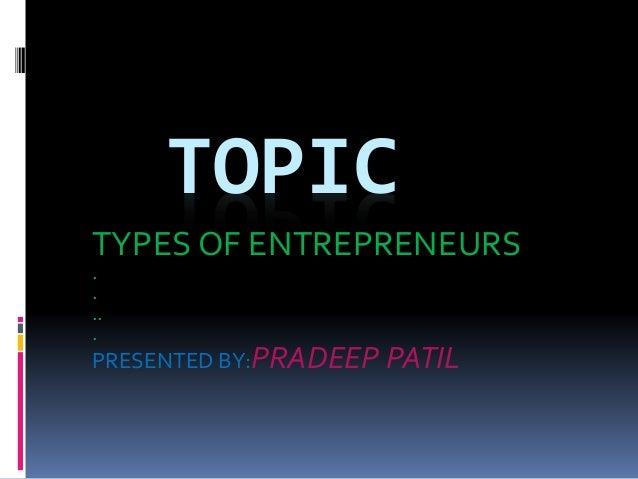 types of entrepreneurs business plan