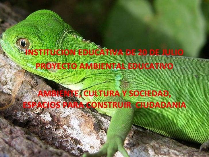 INSTITUCION EDUCATIVA DE 20 DE JULIO PROYECTO AMBIENTAL EDUCATIVO  AMBIENTE, CULTURA Y SOCIEDAD, ESPACIOS PARA CONSTRUIR ...