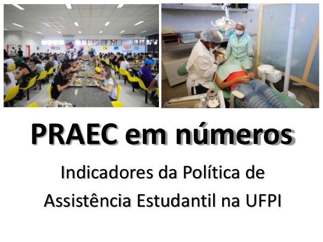 PRAEC em números Indicadores da Política de Assistência Estudantil na UFPI