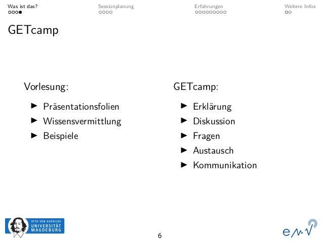 Was ist das? Sessionplanung Erfahrungen Weitere Infos GETcamp Vorlesung: Präsentationsfolien Wissensvermittlung Beispiele ...
