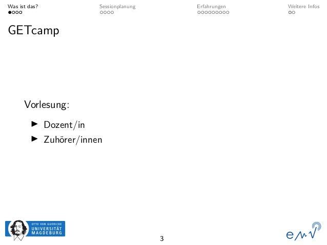 Was ist das? Sessionplanung Erfahrungen Weitere Infos GETcamp Vorlesung: Dozent/in Zuhörer/innen 3