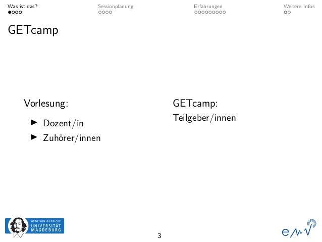 Was ist das? Sessionplanung Erfahrungen Weitere Infos GETcamp Vorlesung: Dozent/in Zuhörer/innen GETcamp: Teilgeber/innen 3