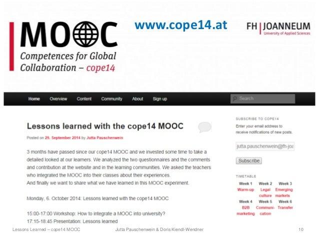 www.cope14.at Jutta Pauschenwein & Doris Kiendl-Wendner 10Lessons Learned – cope14 MOOC