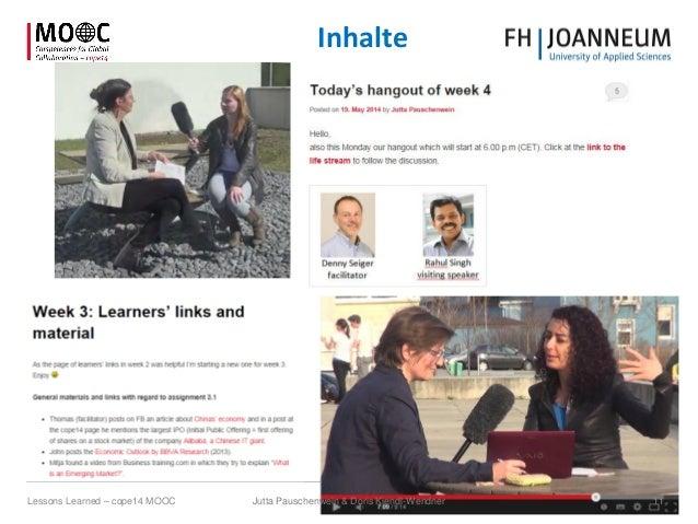 Inhalte Jutta Pauschenwein & Doris Kiendl-Wendner 11Lessons Learned – cope14 MOOC