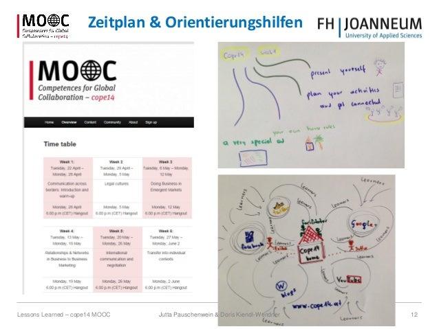 Jutta Pauschenwein & Doris Kiendl-Wendner 12Lessons Learned – cope14 MOOC Zeitplan & Orientierungshilfen