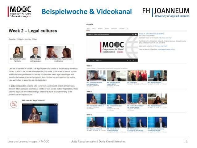 Jutta Pauschenwein & Doris Kiendl-Wendner 13Lessons Learned – cope14 MOOC Beispielwoche & Videokanal